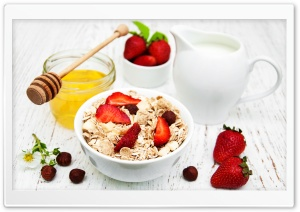 Delicious Oatmeal Breakfast HD Wide Wallpaper for Widescreen