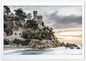 Den Plaja Castle Lloret de Mar, Catalonia HD Wide Wallpaper for Widescreen