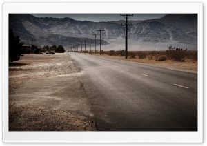 Desert Road And Mountains HD Wide Wallpaper for Widescreen