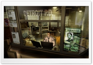 Deus Ex Human Revolution Detroit Police Department HD Wide Wallpaper for Widescreen