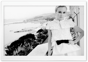 Diane Kruger Black And White HD Wide Wallpaper for Widescreen