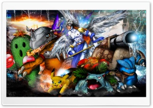 Digimon x Pokemon Mash Up 2014 HD Wide Wallpaper for Widescreen