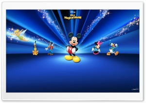 Disney Characters Dark Blue HD Wide Wallpaper for Widescreen