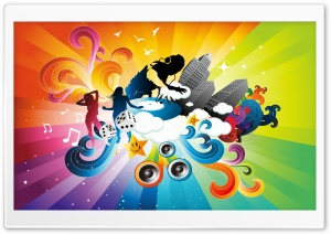 DJ Mixing Cartoon HD Wide Wallpaper for Widescreen