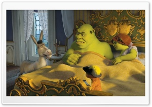 Donkey, Puss in Boots, Shrek and Princess Fiona HD Wide Wallpaper for 4K UHD Widescreen desktop & smartphone