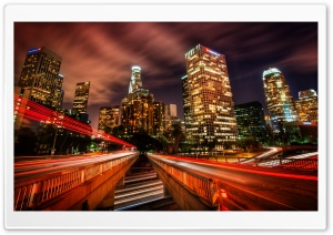 Downtown Los Angeles At Night HD Wide Wallpaper for 4K UHD Widescreen desktop & smartphone
