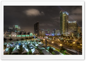 Downtown San Diego at Night HD Wide Wallpaper for 4K UHD Widescreen desktop & smartphone