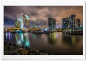 Downtown San Diego Marina at Night HD Wide Wallpaper for 4K UHD Widescreen desktop & smartphone