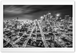 Downtown Toronto Night Black and White HD Wide Wallpaper for Widescreen