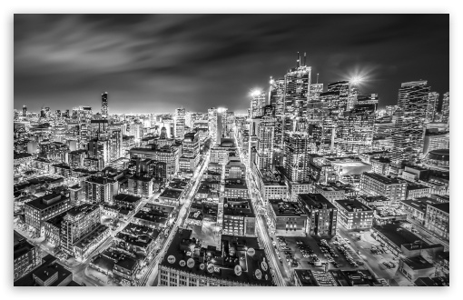 Download downtown toronto night black and white hd wallpaper