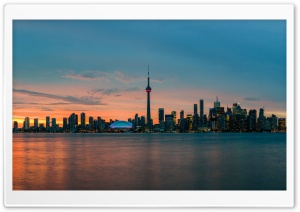 Downtown Toronto Skyline at Sunset Ultra HD Wallpaper for 4K UHD Widescreen desktop, tablet & smartphone