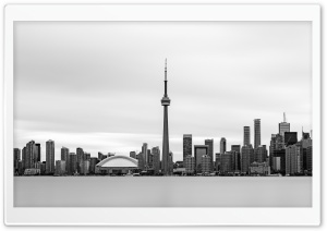 Downtown Toronto Skyline Black and White Ultra HD Wallpaper for 4K UHD Widescreen desktop, tablet & smartphone