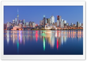 Downtown Toronto Skyline Evening, Canada Ultra HD Wallpaper for 4K UHD Widescreen desktop, tablet & smartphone