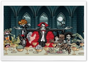 Dracula Vampire and Monsters, Halloween Feast HD Wide Wallpaper for 4K UHD Widescreen desktop & smartphone