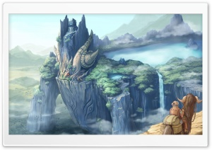Dragon Castle Fantasy Art HD Wide Wallpaper for Widescreen