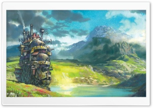 Drawing Moving Castle HD Wide Wallpaper for 4K UHD Widescreen desktop & smartphone