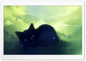 Dreamy Black Kitty Painting HD Wide Wallpaper for Widescreen