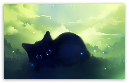 Dreamy Black Kitty Painting HD wallpaper for Wide 16:10 5:3 Widescreen WHXGA WQXGA WUXGA WXGA WGA ; HD 16:9 High Definition WQHD QWXGA 1080p 900p 720p QHD nHD ; Standard 4:3 5:4 3:2 Fullscreen UXGA XGA SVGA QSXGA SXGA DVGA HVGA HQVGA devices ( Apple PowerBook G4 iPhone 4 3G 3GS iPod Touch ) ; Tablet 1:1 ; iPad 1/2/Mini ; Mobile 4:3 5:3 3:2 16:9 5:4 - UXGA XGA SVGA WGA DVGA HVGA HQVGA devices ( Apple PowerBook G4 iPhone 4 3G 3GS iPod Touch ) WQHD QWXGA 1080p 900p 720p QHD nHD QSXGA SXGA ;