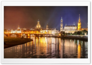 Dresden, Elbe River, Germany, Night HD Wide Wallpaper for Widescreen