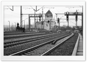 Dresden Train Station Black And White HD Wide Wallpaper for Widescreen