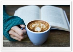 Drinking Coffee While Reading HD Wide Wallpaper for 4K UHD Widescreen desktop & smartphone
