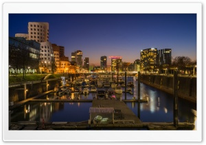 Dsseldorf city after the sunset HD Wide Wallpaper for 4K UHD Widescreen desktop & smartphone