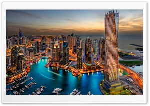 Dubai Marina, United Arab Emirates HD Wide Wallpaper for 4K UHD Widescreen desktop & smartphone