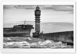 Dunkirk Lighthouse Black And White HD Wide Wallpaper for Widescreen