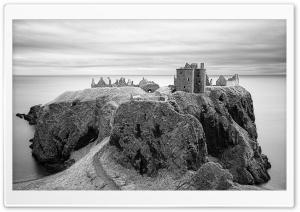 Dunnottar Castle Black and White HD Wide Wallpaper for 4K UHD Widescreen desktop & smartphone