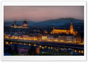 Dusk in Florence, Italy HD Wide Wallpaper for Widescreen