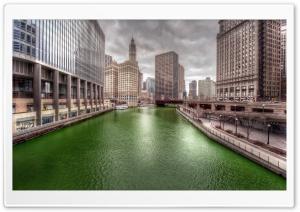 Dyeing the Chicago River Green HD Wide Wallpaper for 4K UHD Widescreen desktop & smartphone
