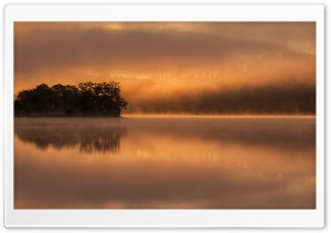 Early Morning Mist Reflected in the Still Waters of Loch Achray HD Wide Wallpaper for Widescreen