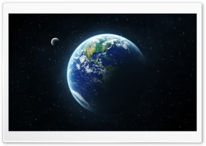 Earth And Moon From Space HD Wide Wallpaper for Widescreen