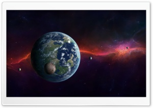 Earth, Moon And Other Planets HD Wide Wallpaper for Widescreen