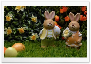 Easter Eggs and Bunnies 2016 HD Wide Wallpaper for 4K UHD Widescreen desktop & smartphone