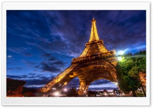 Eiffel Tower At Night HD Wide Wallpaper for 4K UHD Widescreen desktop & smartphone