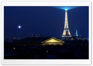 Eiffel Tower At Night HD Wide Wallpaper for Widescreen