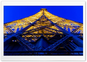 Eiffel Tower Blue And Yellow HD Wide Wallpaper for Widescreen
