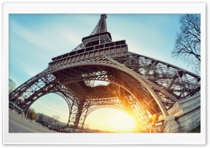 Eiffel Tower Paris Sun HD Wide Wallpaper for Widescreen