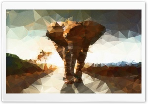 Elephant polygon illustration HD Wide Wallpaper for Widescreen