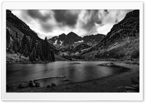 Elk Mountains, Maroon Lake, Colorado, Black and White Ultra HD Wallpaper for 4K UHD Widescreen desktop, tablet & smartphone