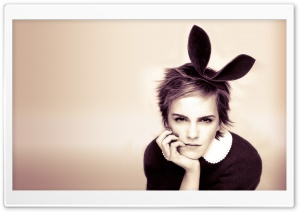 Emma Watson With Bunny Ears HD Wide Wallpaper for 4K UHD Widescreen desktop & smartphone