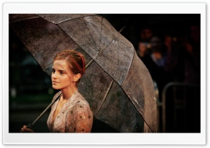 Emma Watson With Umbrella HD Wide Wallpaper for Widescreen
