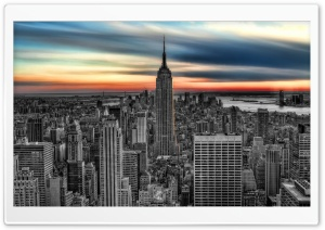 Empire State Building BW Edit HD Wide Wallpaper for Widescreen