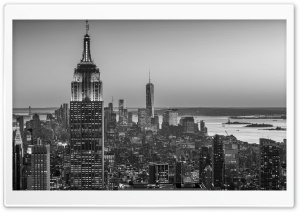 Empire State Building, New York City -Monochrome HD Wide Wallpaper for 4K UHD Widescreen desktop & smartphone