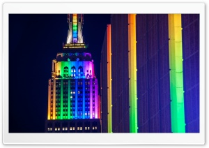 Empire State Building Rainbow Lights HD Wide Wallpaper for Widescreen