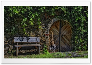 Empty Bench and Door HD Wide Wallpaper for Widescreen
