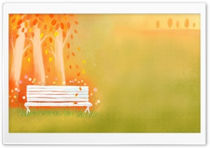 Empty Bench Autumn HD Wide Wallpaper for Widescreen