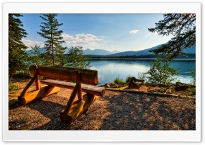 Empty Bench Near The Lake HD Wide Wallpaper for 4K UHD Widescreen desktop & smartphone