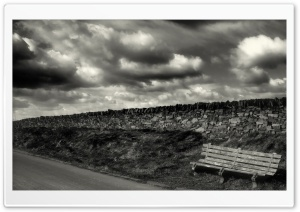 Empty Bench On Roadside HD Wide Wallpaper for Widescreen